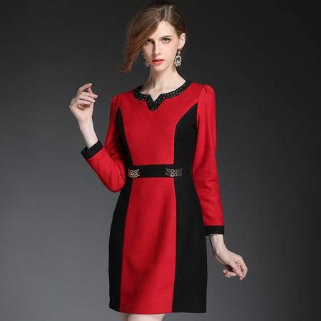 蒂妮佳 欧美时尚OL女装拼接撞色中裙一步裙连衣裙 D7328
