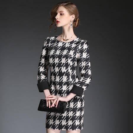 蒂妮佳  新品欧美时尚女装千鸟格短裙子连衣裙 D7087