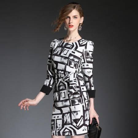 蒂妮佳  欧美时尚女装撞色拼接旗袍收腰显瘦裙子连衣裙 D7331