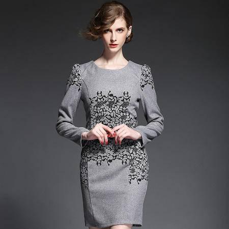 蒂妮佳  欧美修身毛呢印花长袖包臀铅笔裙连衣裙 D7089