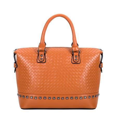 Global Freeman 全球自由人新款时尚复古编织纹铆钉单肩手提女包OL通勤大包包1338