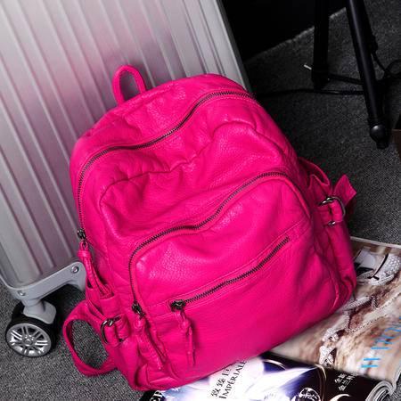 自由人 98116 水洗皮双肩包女包韩版潮大容量学院风旅行背包