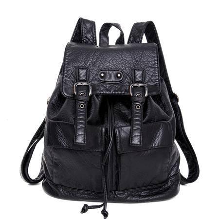 自由人新款双肩包女士韩版水洗皮背包休闲女士小包 98115