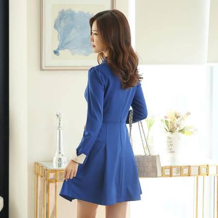 薇语馨 7711 新款手工订珠长袖收腰连衣裙