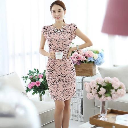 薇语馨 7060 优雅OL线条短袖包臀连衣裙