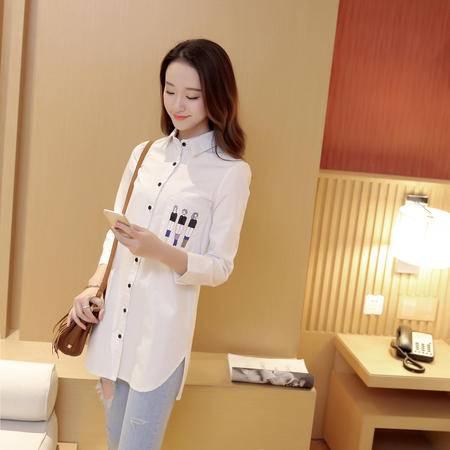 缔五季 482 新款韩版修身中长款全棉长袖衬衫