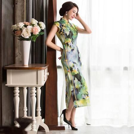 缔五季 1046 新款高开叉性感优雅复古长款旗袍