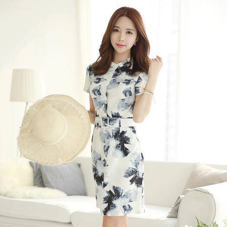 薇语馨 8023 时尚棉麻水墨印花连衣裙