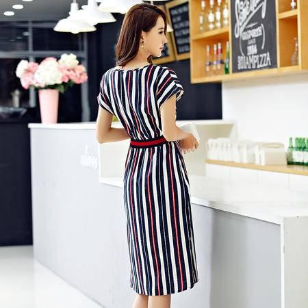 薇语馨  7841 夏季条纹休闲a字连衣裙