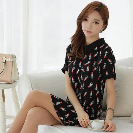 薇语馨  1065 新款欧美口红印花连衣裙