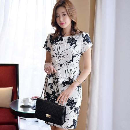 薇语馨 7827 优雅名媛印花荷叶边包臀连衣裙