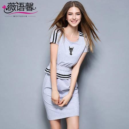 薇语馨 2028 动物瘦刺绣条纹假两件松紧腰休闲连衣裙
