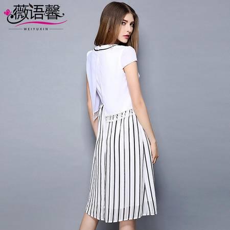 薇语馨 2061 欧美夏季新品条纹时尚拼接显瘦连衣裙