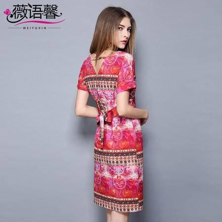 薇语馨 2058 欧美夏装新款性感V领印花后镂空气质连衣裙
