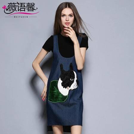 薇语馨 2004 时尚两件套萌宠纯棉T恤+牛仔背带裙子