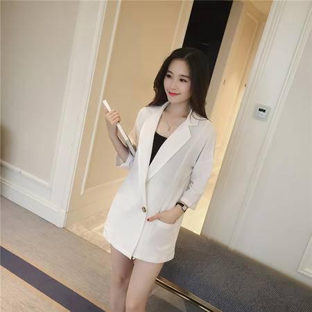 缔五季 6885 棉麻两件套半袖开衫中长款小西装翻领韩版显瘦套装
