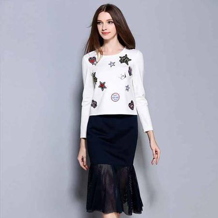 薇语馨 1409长袖T恤+网纱裙子两件套