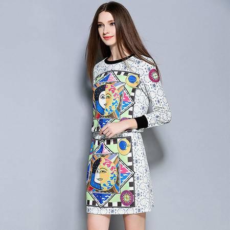薇语馨 1441特色团上衣+裙子两件套