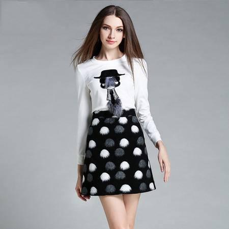 薇语馨 1415欧美秋季新品长袖T恤+毛呢裙子两件套