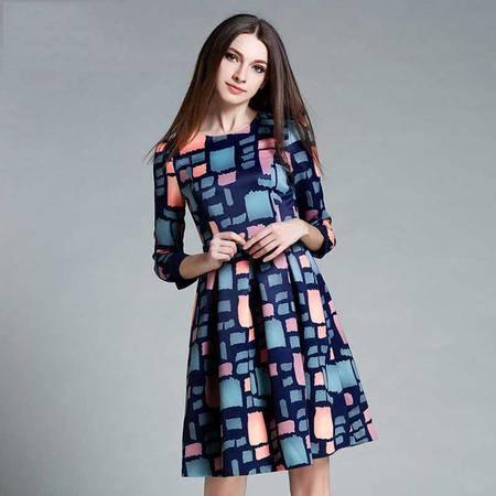 薇语馨 2813 欧美秋装新品方格拼接显瘦连衣裙