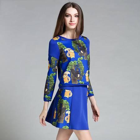 薇语馨 1431 欧美秋装新品植物印花上衣+裙子两件套