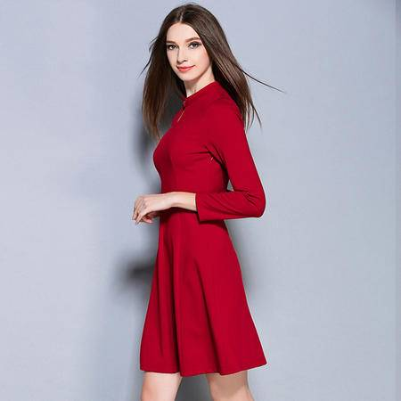 薇语馨 2178欧美秋季新品纯色通勤显瘦连衣裙