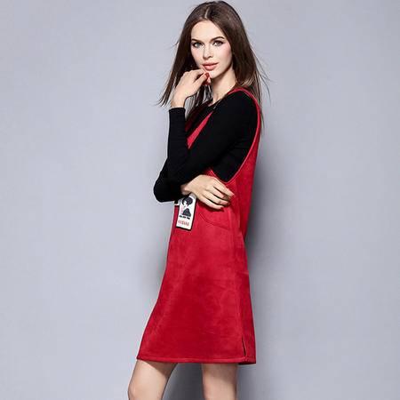 薇语馨 1439欧美秋季新品简约T恤+背带裙两件套