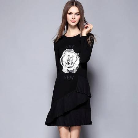 薇语馨 1436欧美秋季新品叠层花边玫瑰花印花长袖连衣裙