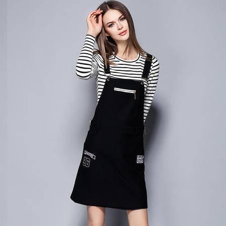 薇语馨 1445欧美秋季新品条纹T恤+吊带裙两件套