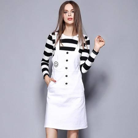 薇语馨 M1472欧美秋季时尚女装条纹T恤吊带裙两件套