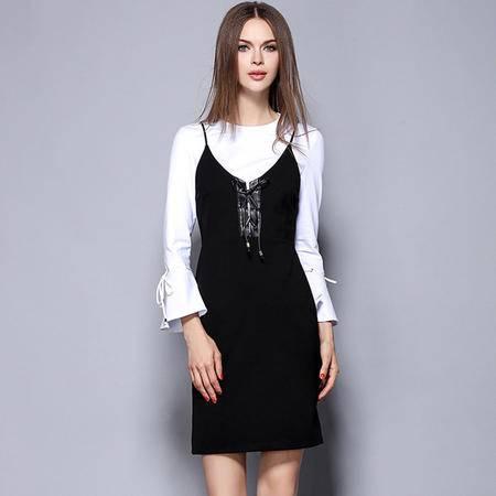 薇语馨 M1480欧美秋季时尚女装简约上衣吊带裙两件套