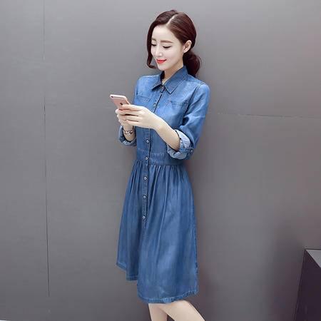 缔五季 5027 新款中长款韩国学生修身显瘦收腰连衣裙