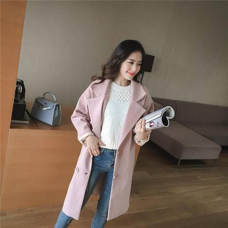 缔五季 832 韩版时尚百搭修身长款过膝羊毛呢子大衣