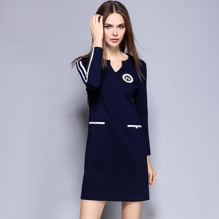 薇语馨 1399欧美秋季新品休闲运动风条纹拼接连衣裙