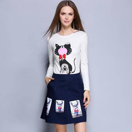 薇语馨 1450欧美秋季新品卡通印花上衣+牛仔裙两件套