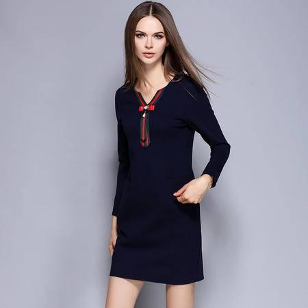 薇语馨 1498欧美秋季新品条纹V领钉珠纯色显瘦连衣裙