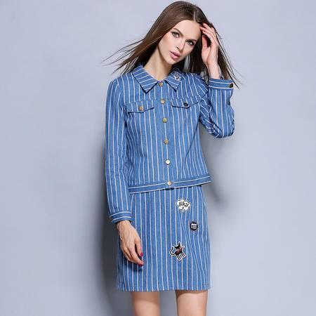 薇语馨 1700欧美秋季新品条纹贴花牛仔上衣+裙子两件套