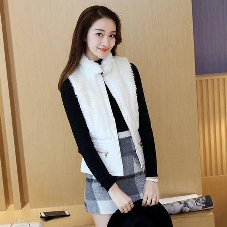 缔五季 5055 韩版时尚立领毛绒修身纯色马甲外套