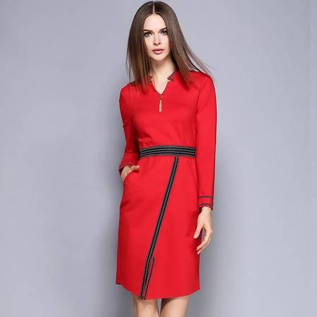 薇语馨 1496欧美秋季新品条纹V领金属吊坠显瘦连衣裙