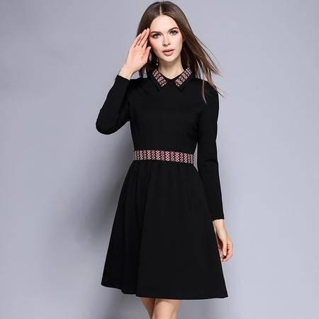 薇语馨 1671欧美秋季新品翻领显瘦长袖连衣裙
