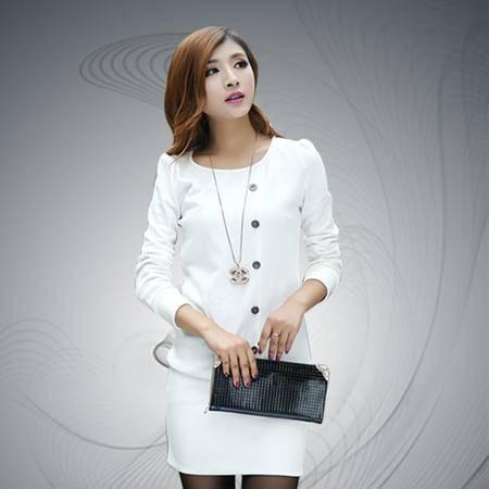 缔五季 119 韩版气质显瘦长袖针织棉连衣裙OL修身包臀打底裙
