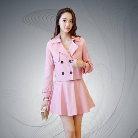 缔五季 5048 韩版双排扣翻领风衣外套半身裙套装两件套