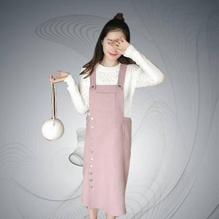缔五季 815 韩版时尚单排扣无袖高腰背带裙连衣裙