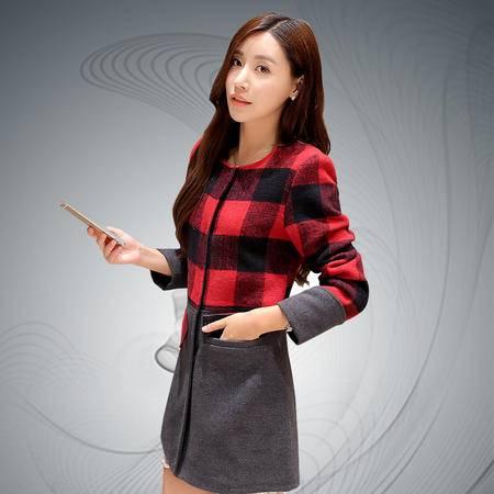 缔五季 698 新款气质修身韩版显瘦中长款毛呢外套
