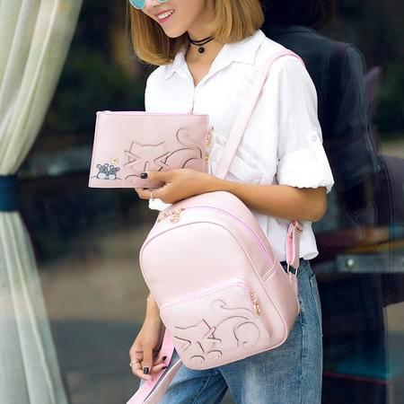 GLOBAL FREEMAN  1132 新款韩版可爱小猫双肩包时尚拼接印花小背包学院风女士休闲包