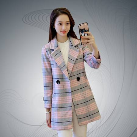 缔五季 5026 韩版毛呢中长款修身格子大衣