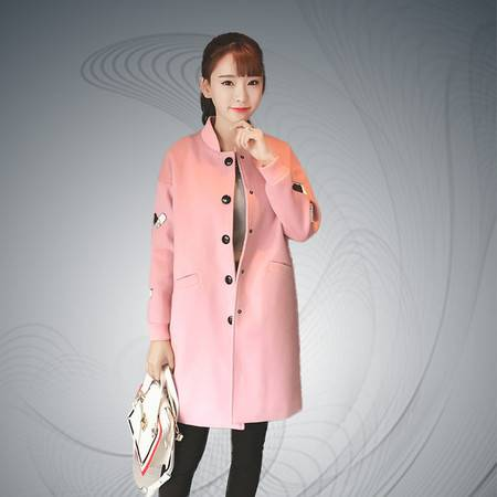 缔五季 869 韩版修身长款绣花贴布毛呢外套