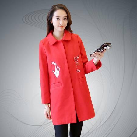 缔五季 8802 韩版绣花加厚宽松刺绣中长款毛呢外套
