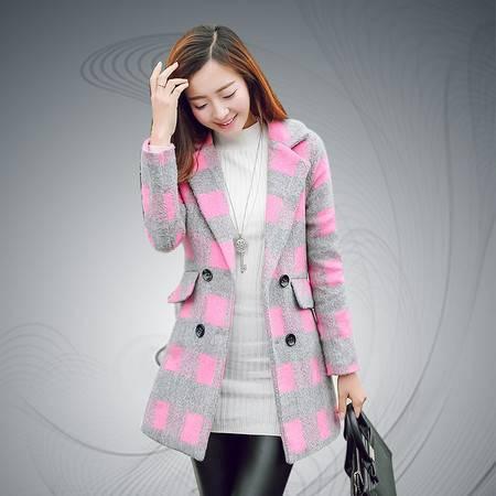 缔五季 5070 学院风中长款羊毛呢格纹大衣外套