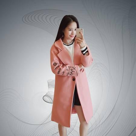 缔五季 855 韩版气质中长款猫咪刺绣毛呢加厚外套